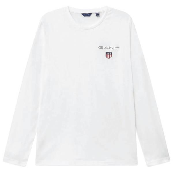 Bilde av GANT - Medium Shield LS T-shirt Hvit